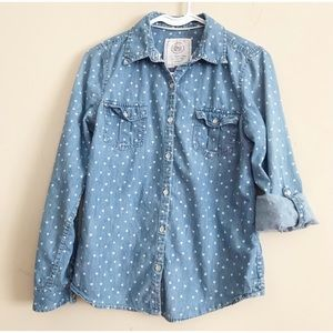 SO chambray button up tab sleeve shirt M